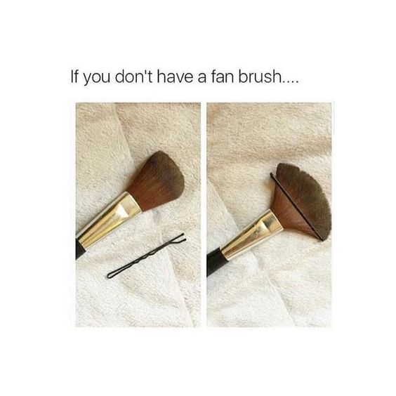 fan brush hack, unexpected beauty hack, 99 cent razor